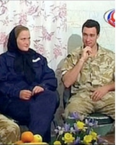 Two British soldiers being interviewed on Iranian television.