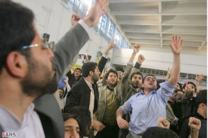 Students protesting against Ahmadinejad at Amir Kabir University in Tehran.