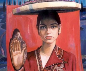 A beautiful painting of a woman by Nami Petgar (click on the slide show for more of his paintings and be sure to view some of Masoud Dashtban's paintings as well).