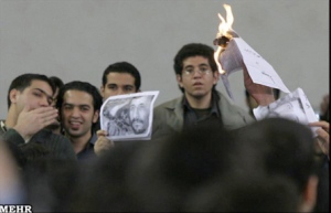 Students protesting Iranian President Ahmadinejad at Amir Kabir University in Tehran.