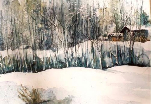 A painting of a snowy day by Nasrin Dastan (click the link above for many more of her beautiful works).