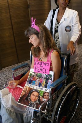 Leslie Angeline, who had been fasting for twelve days, sits outside Senator Joseph Lieberman's waiting to meet with him about his aggressive stature towards Iran.