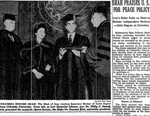 The Shah of Iran receiving an honorary doctoral degree from Columbia University.