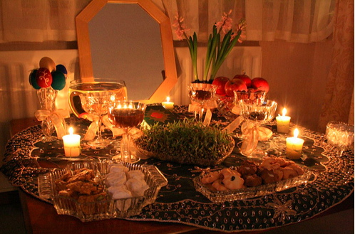 "Happy Nouruz Everyone!!! Persian families throughout the world right now are celebrating Nouruz (Nowrouz), the Persian New Year. Above is an example of the a ""hafsin,"" which is a special table prepared for Nouruz (please see the link below for much more information about Nouruz)."