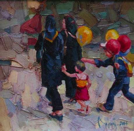 A beautiful oil painting by the young (and talented!) Iranian artist Adel Younesi, depicting a scene from the streets of Iran (please see the end of this 'Window' for more of his works).