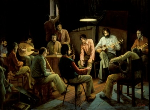 A painting by Iranian painter Iman Maleki of a group of Iranian men enjoying some setar, tar, oud, and ney music. Please see the link at the end of this 'Window' for more of his fantastic paintings.