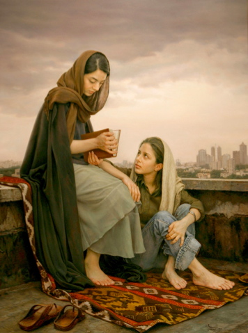 A painting of two young Iranian women reading on the roof of a city building. Please see the link to the left for much more of his art work.