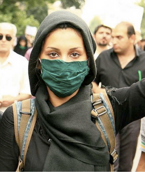 Green protests continued in Iran today.