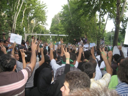 Green wrist bands and V-signs—the signs of protest and, most importantly, HOPE in Iran.