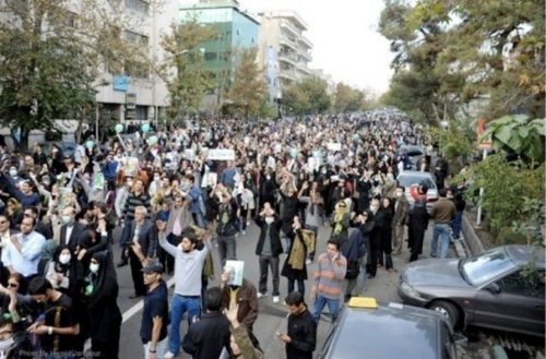 Protests continued in Iran on the anniversary of the day the students took over the American embassy in Iran. Today, however, protestors were out to protest the summer election results and show their support for the Green Movement (Photo: November 4th, 2009).